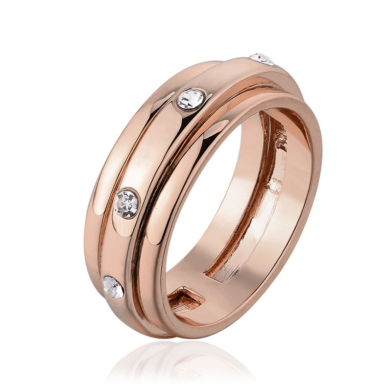 Rose Gold Plated Metal trendy Style Shiny Bright Crystal Cz Ring 8#