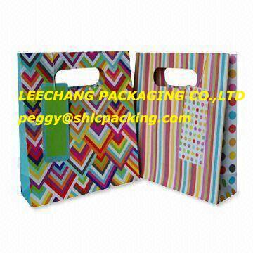 colorful stripe paper shopping bag