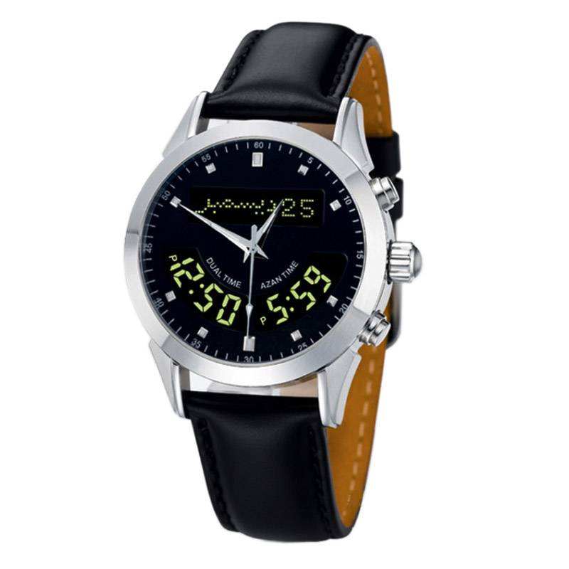 Azan Watch-04 Azan Muslim religious prayer times Qibla compass Mecca sensor waterproof watch