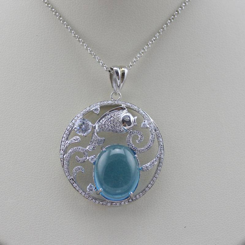 The fish pendant with Blue Topaz, Charm Jewelry ,Gemstone Pendant (PSJ0354)