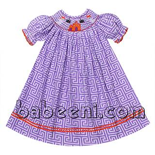 Adorable Boo smocked bishop dress for little girls - BB818