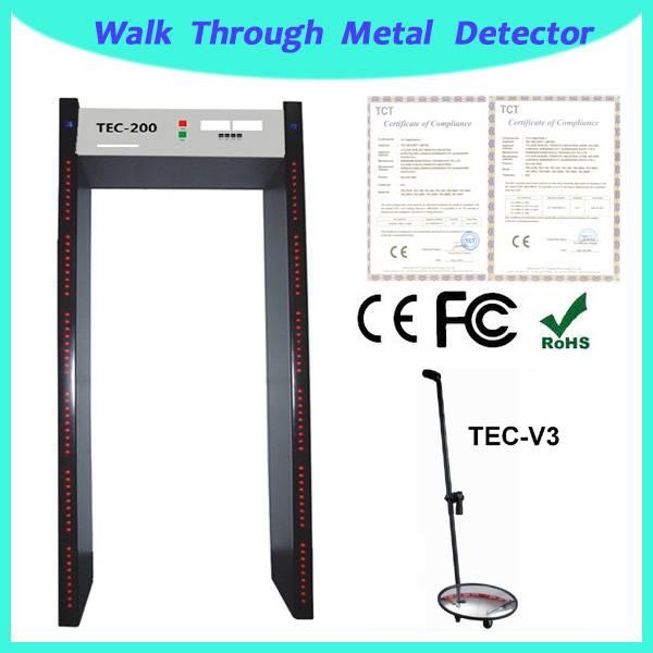 metal detector price TEC-200 multi-zone walk through metal detector