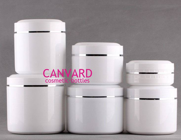 White cosmetic jars, plastic jar, cream jar