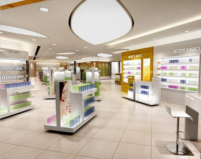 Whole-set solution for cosmetic store display fixture,cosmetic store design