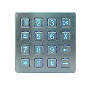 Custom illuminated waterproof rugged metal kiosk keyboard ip65 security keypad metal lighted keypad