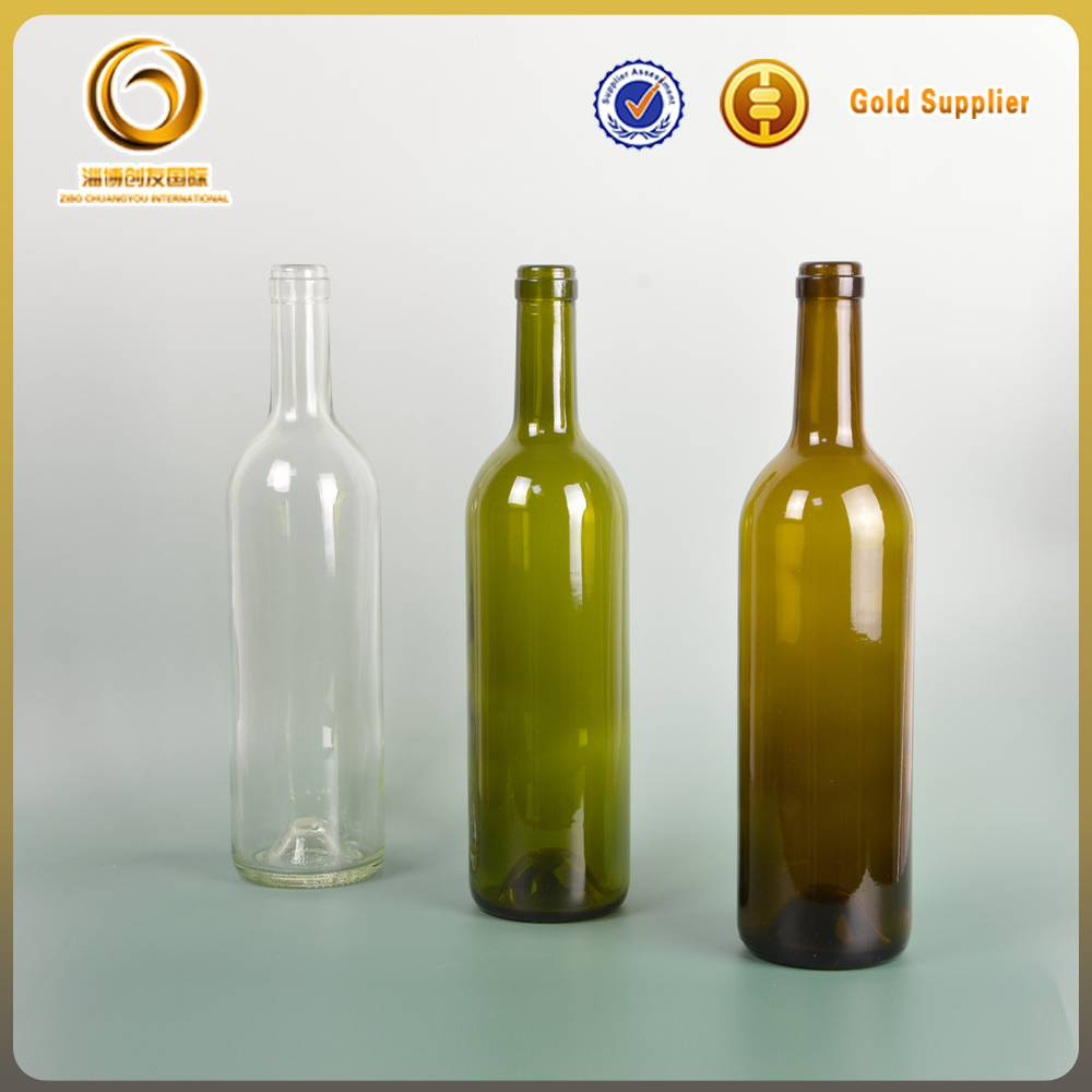 low price 750ml bordeaux colored glass wine bottles manufactured