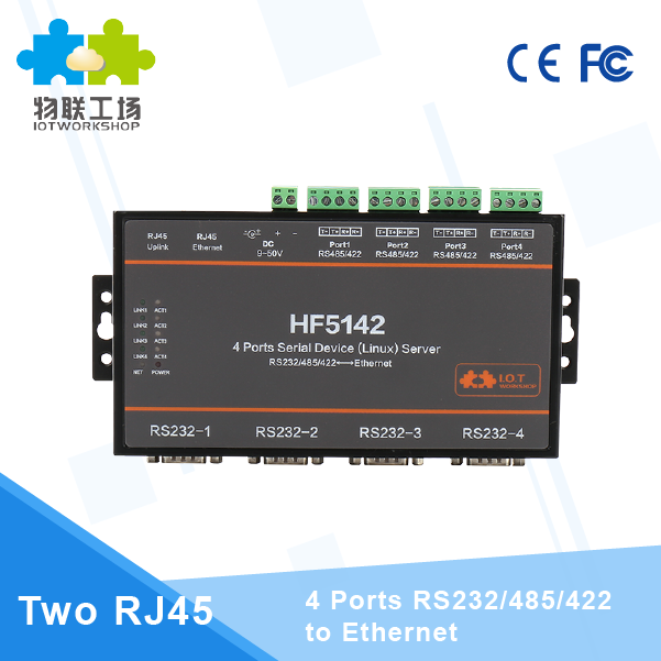 Serial to Ethernet 4 Ports RS232/RS485/RS422 to Ethernet Converter