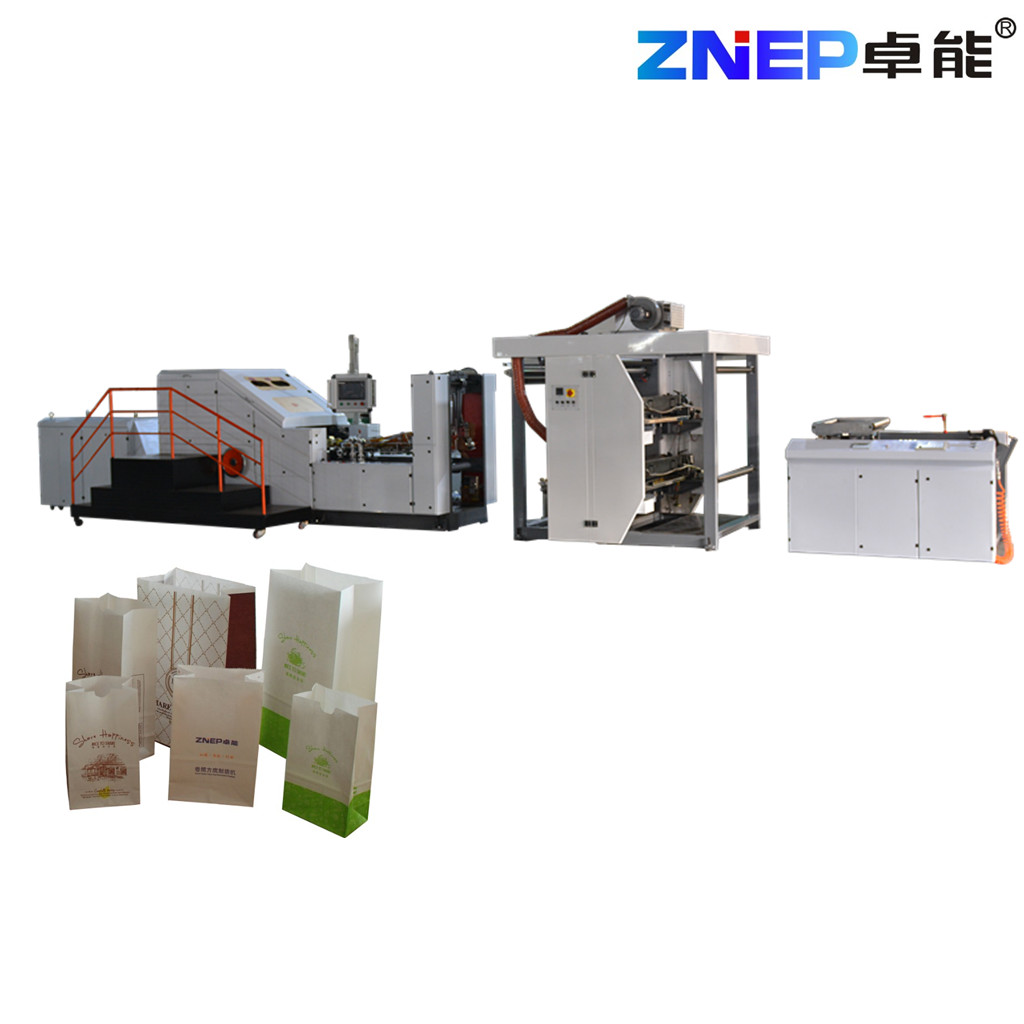 ZD-F330Y ZNEP New food shopping Square Bottom Paper Bag Making Machine with inline printing function