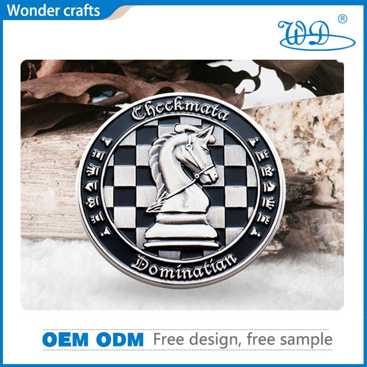 3D custom design engraving soft enamel iron imitation silver plating smooth edge challenge coin
