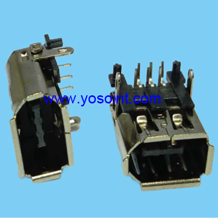 IEEE 1394 connector female 6P right angle solder