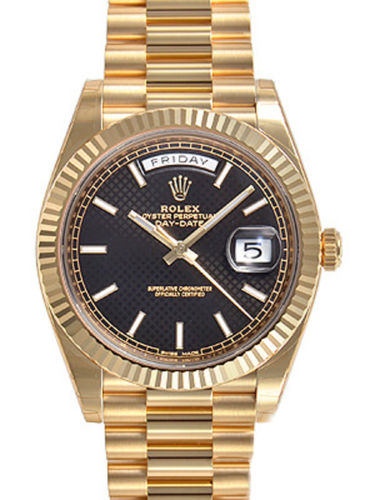 New Mens Rolex DAY-DATE 40MM President 228238 Yellow Gold Black Diagonal Motif Dial Luxury Watch