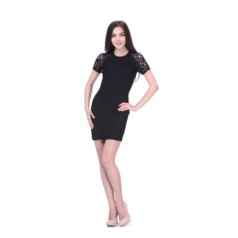 Black allover lace round neck short sleeve bodycon dress