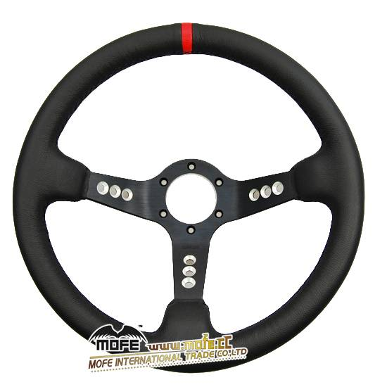 Real Leather 90mm Deep Dish Drift Steering Wheel