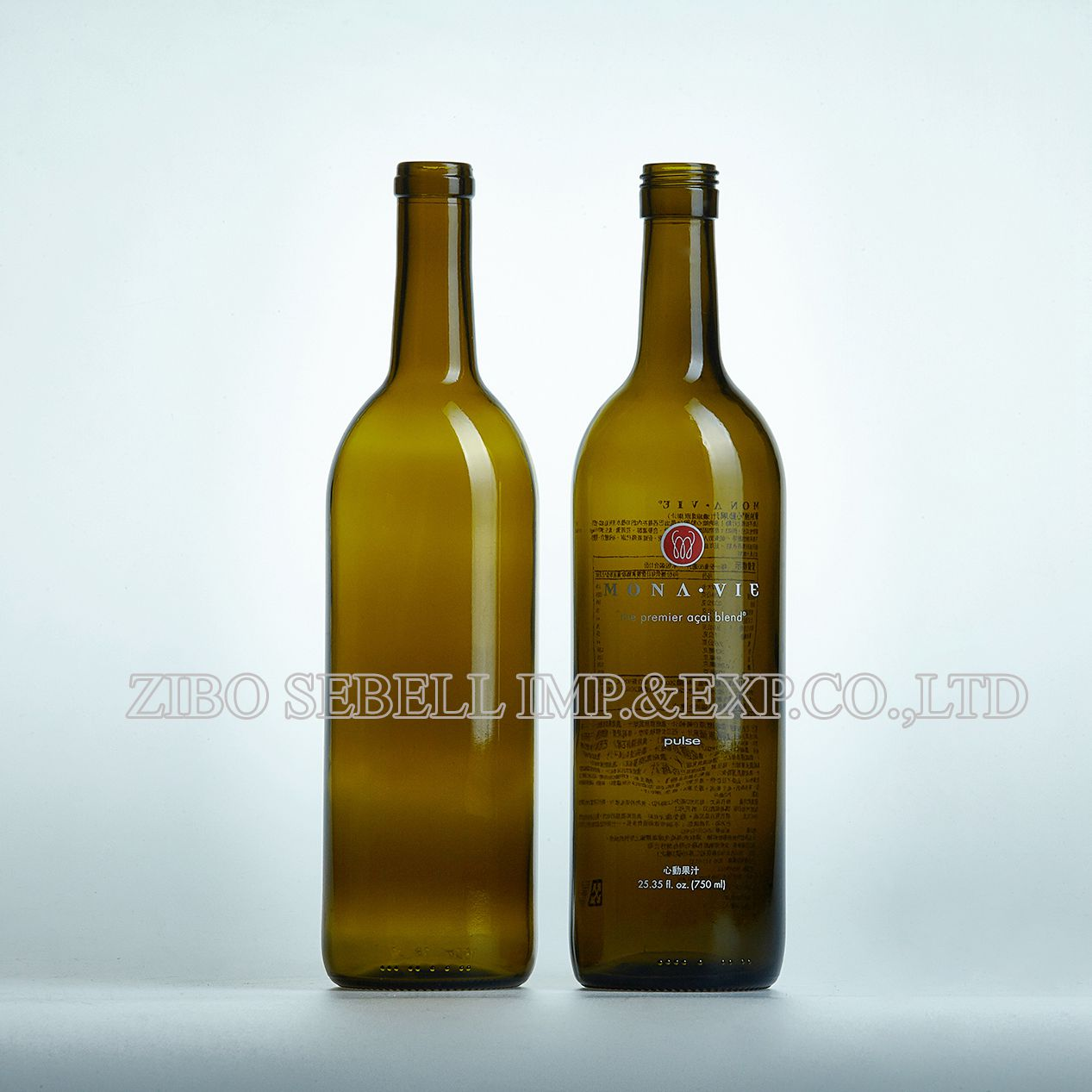 750ml bordeaux wine bottle with cork top/screw cap
