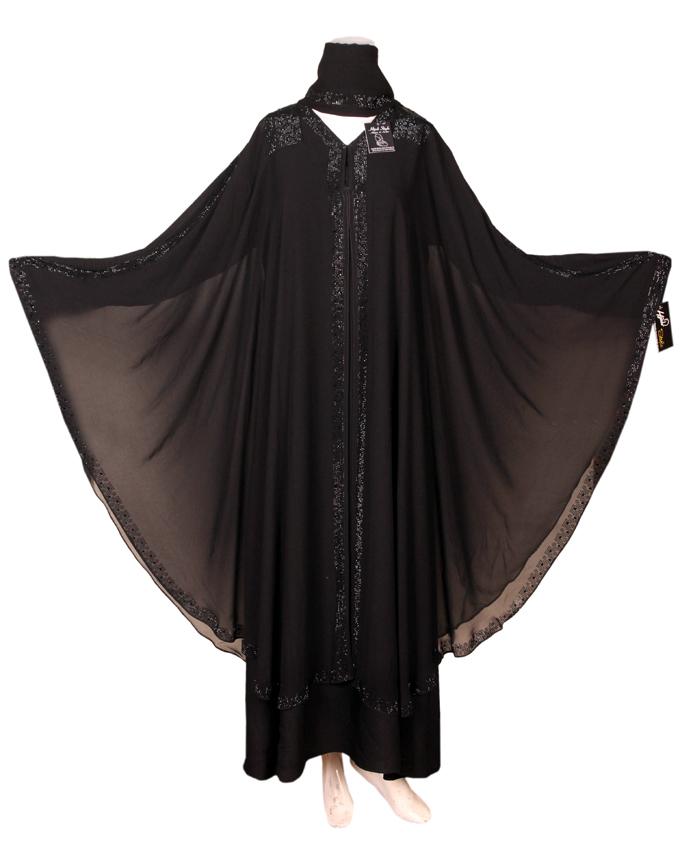 black frasha style abaya for women