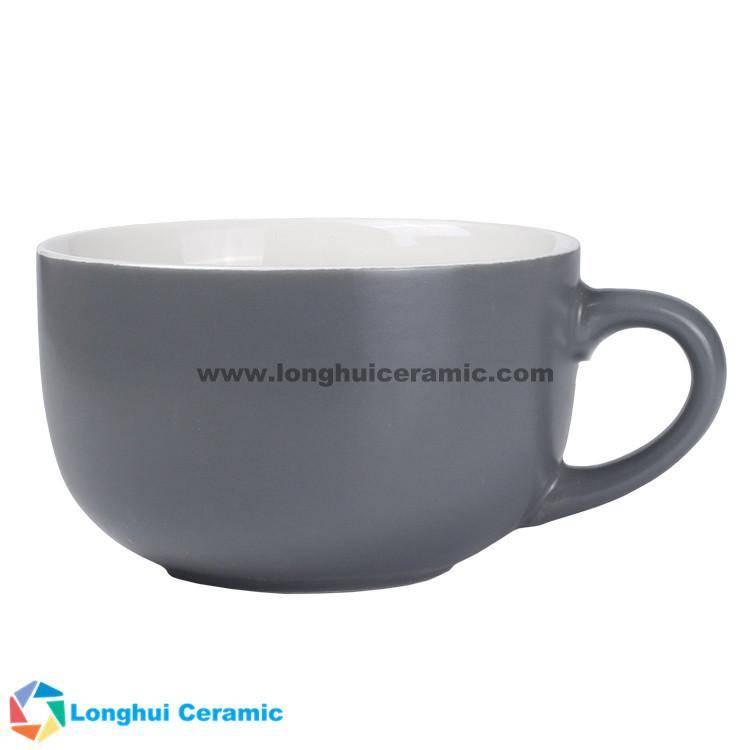15oz Two-tone matte color exterior customized ceramic soap mug