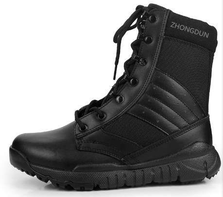 leather upper rubber sole military boot ZD109