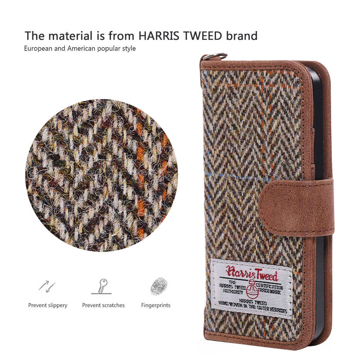 Harris Tweed Fabric Wallet Retro Royal Phone Case Cover For iPhone 6