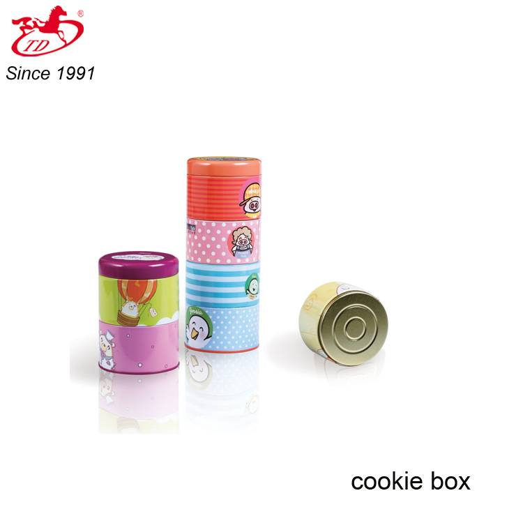 TD cartoon multilayer cookie tin box, detachable candy tin can