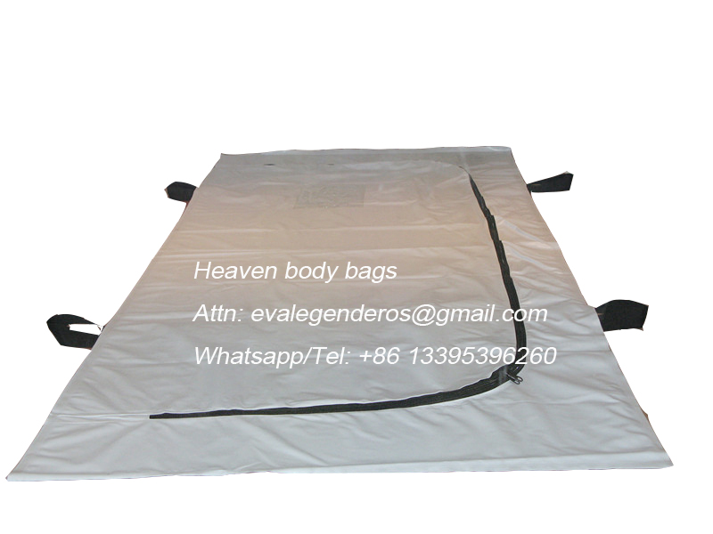 4 handles Funeral PVC body bag with U zipper