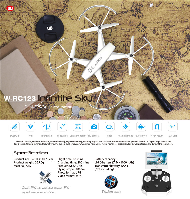 Dual GPS/5.8G transmission rc quadcopter drone with 1080P HD camera