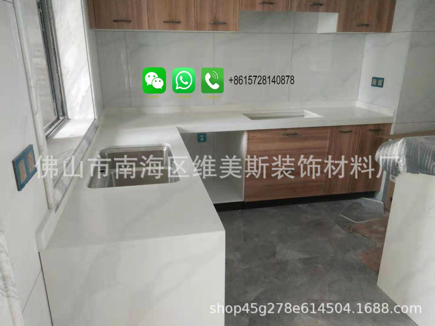 Foshan Weimeisi Customized Carrara White Marble Kitchen Worktops Finished Products: Kitchen Counter