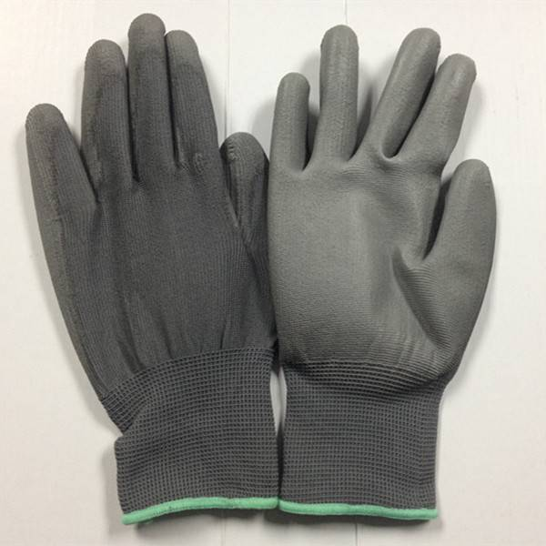 Grey Nylon Polyester PU palm coated work gloves