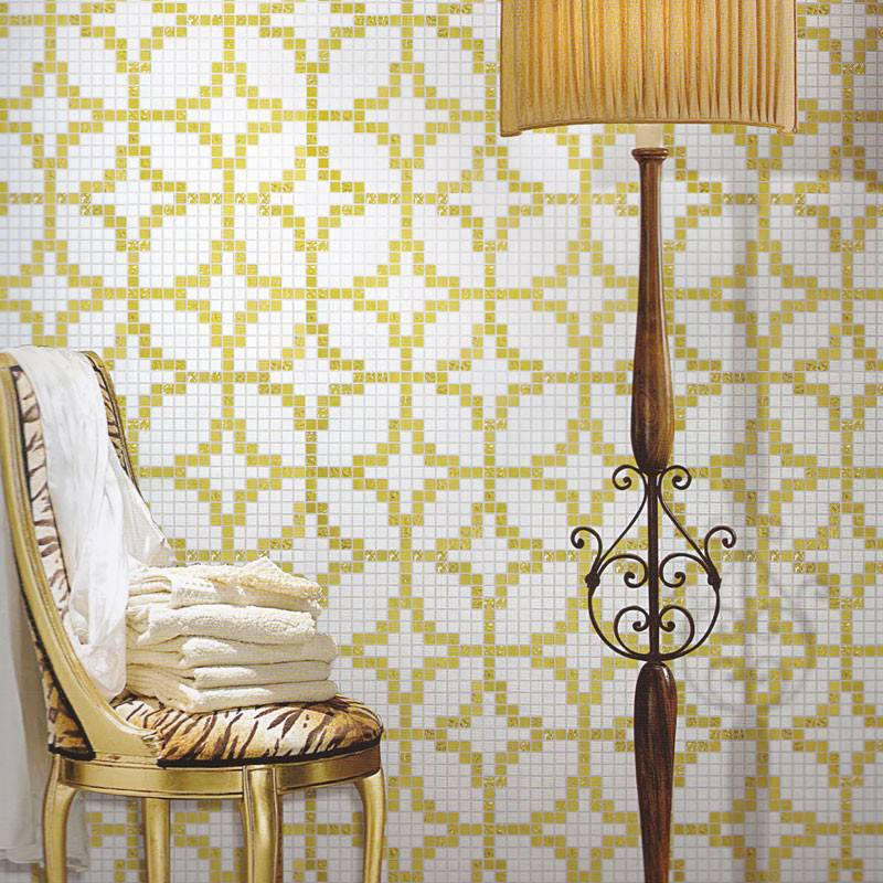 Etoiles Oro Giallo JY-P-E03 Bisazza Tile Golden and White Chinese Ancient Coin Shape Glass Mosaic Pa