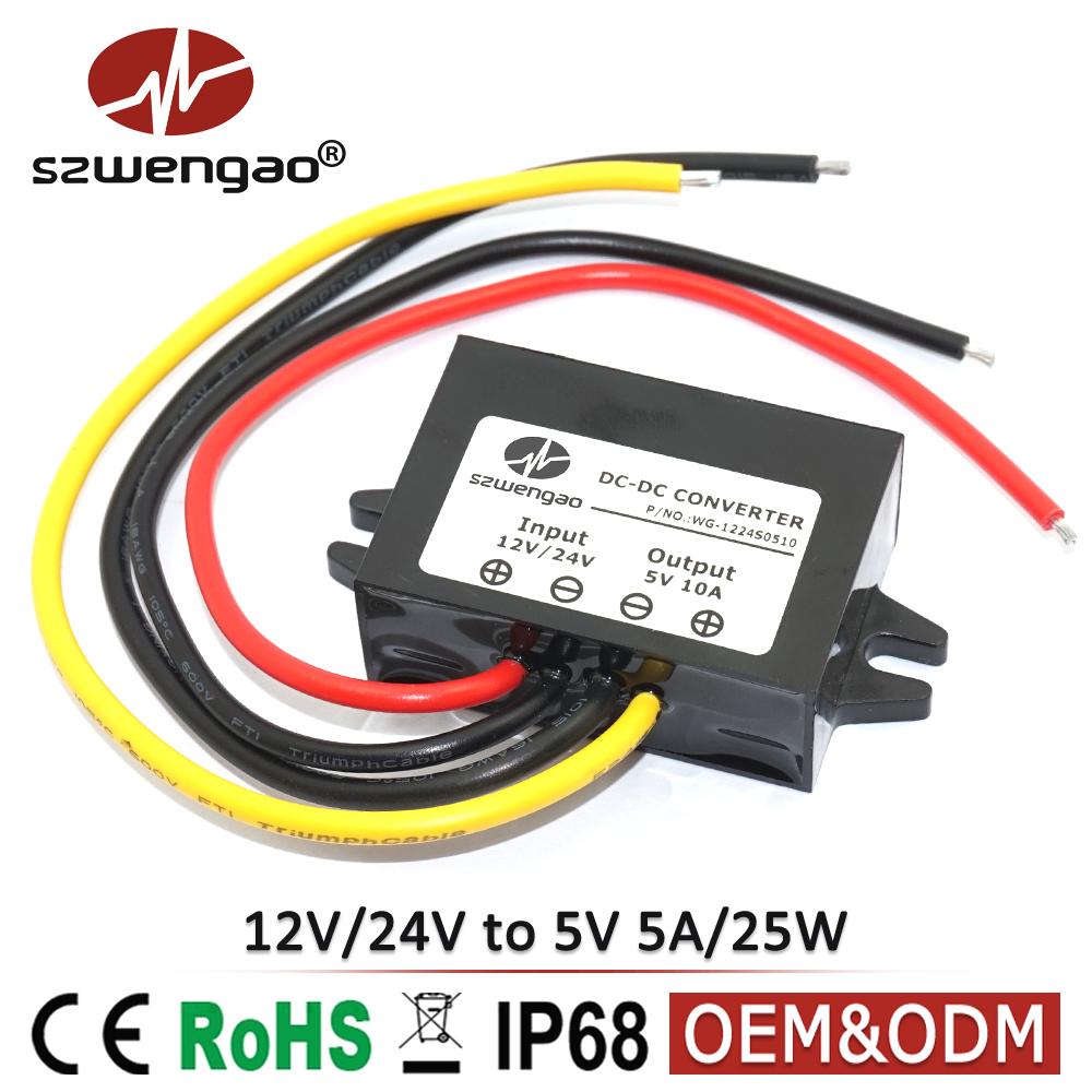 DC to DC Converter 12V to 5V, 24V to 5V 5A 25W Car LED Display Power Supply