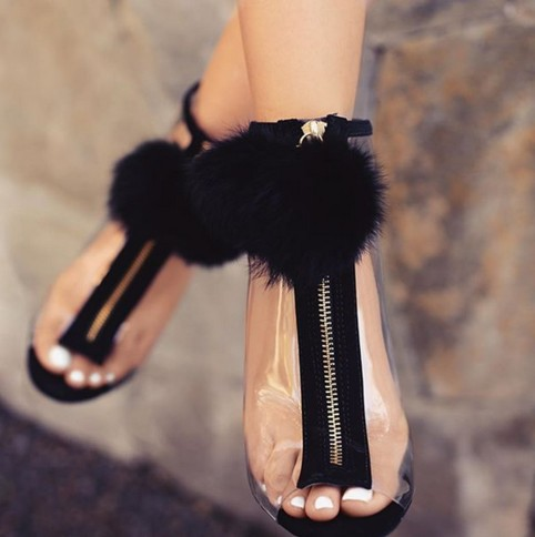 Women Sandals High Heel Peep Toe Transparent Clear Ankle Boots Summer Fuzzy Ball Pompon Gladiator Sa