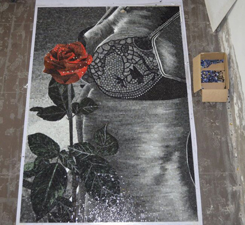 ZF-JH040 rose glass mosaic tiles patterns mural art wall decorative