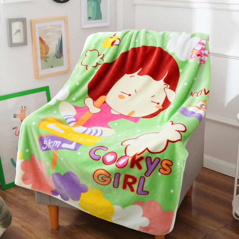 Soft touch coral fleece velvet embroidered design baby blanket