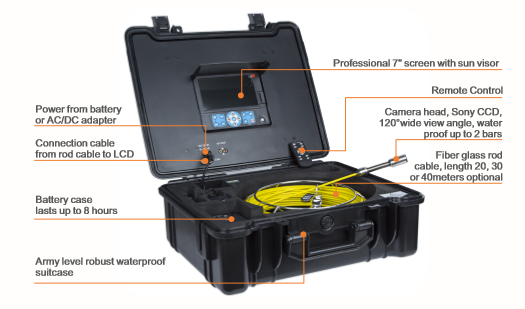 TVBTECH HD Inspection Camera with 40m Cable for Drain Clean