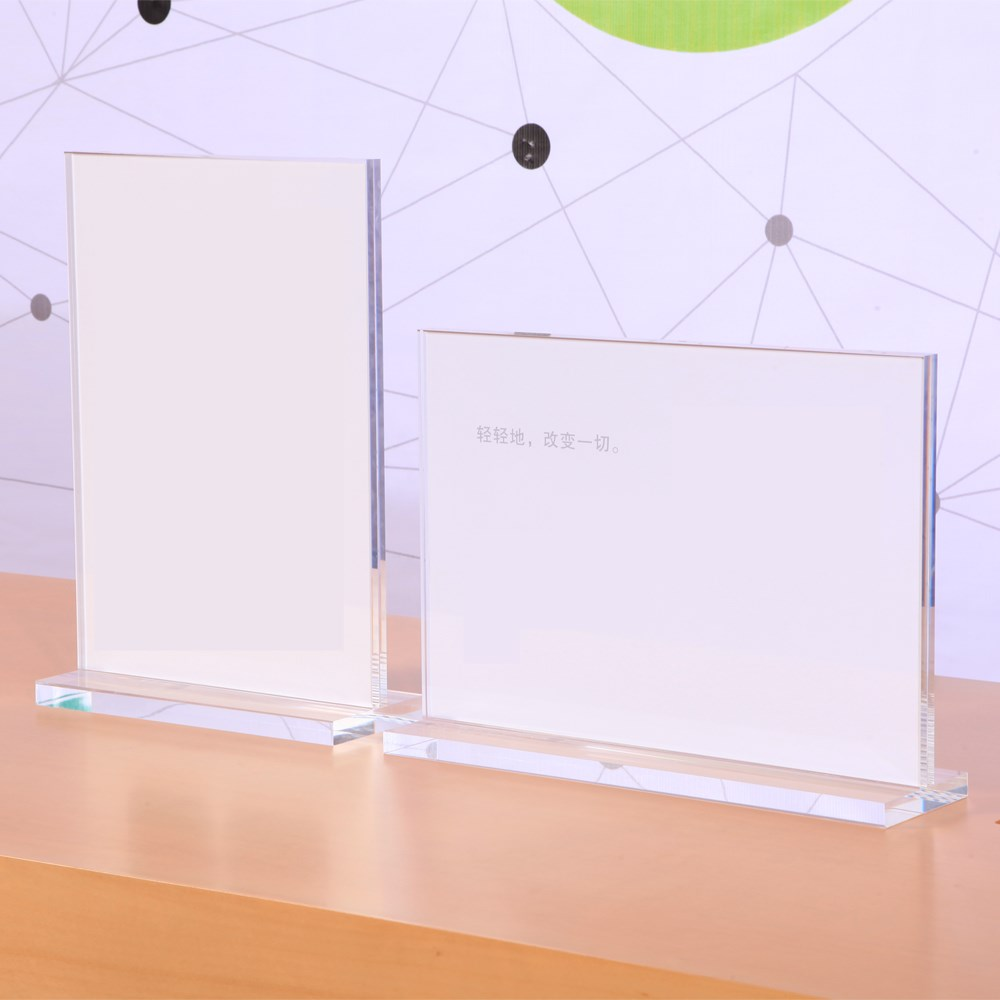 shenzhen retail mobile phone horizontal clear acrylic A3 poster display sign holder for apple store