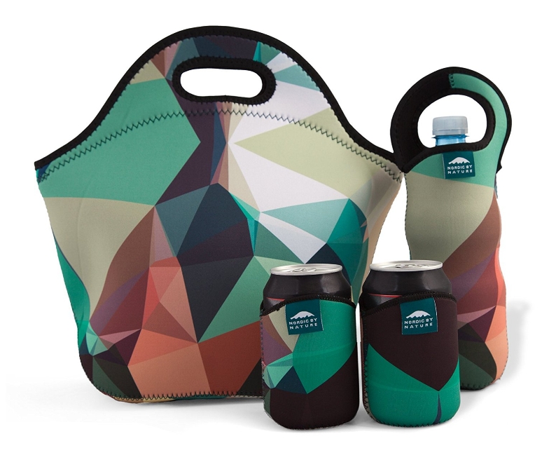 Insulated Extra Large Neoprene Lunchbox Tote Lunch Bag Set: Tote + Bottle Sleeve + 2 Can Insulators