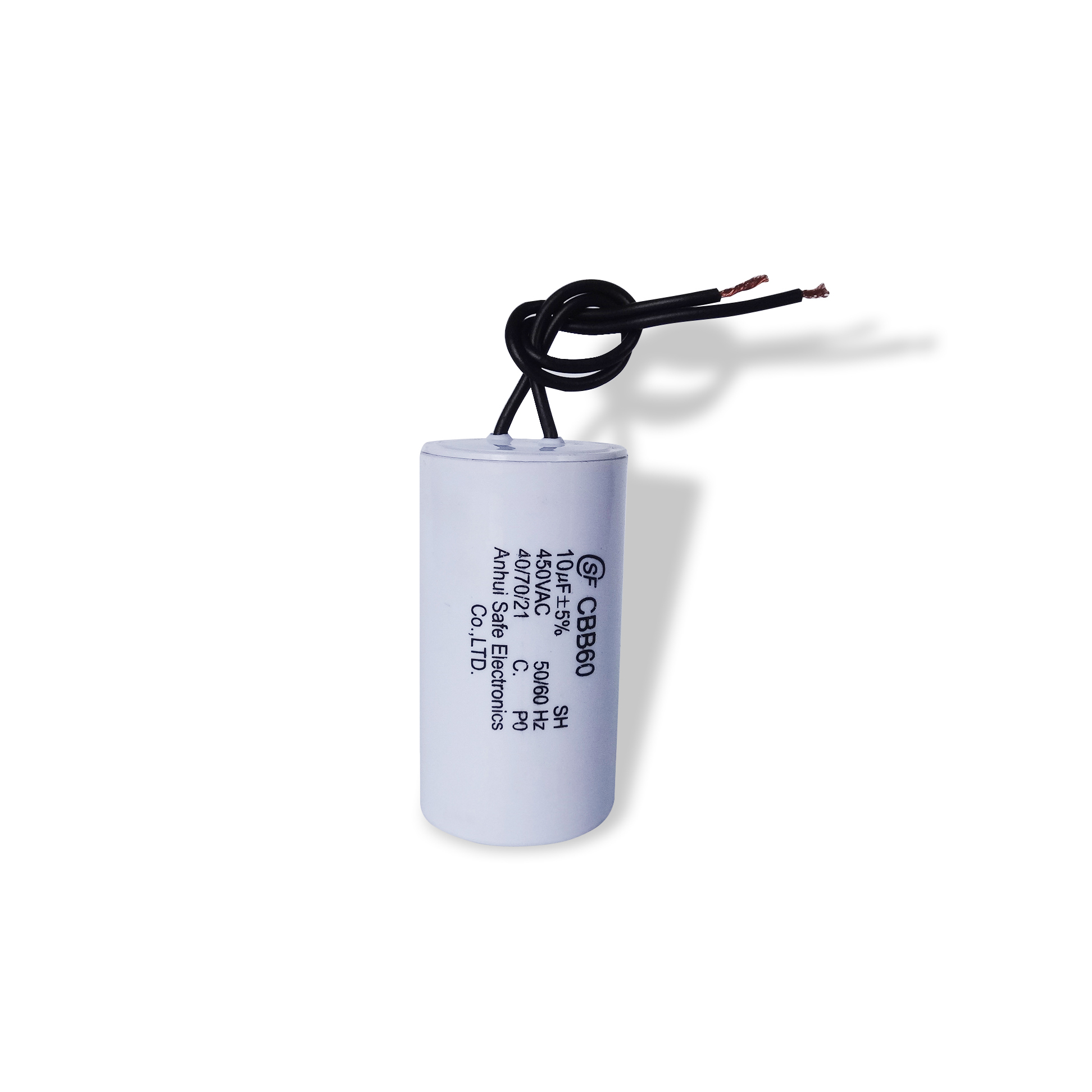 China Supplier White Plastic Shell Motor Capacitor Cbb60 for Water Pump
