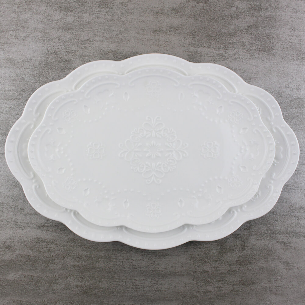 12.5 inch Large Oval Dinner Plates Lace Embossed