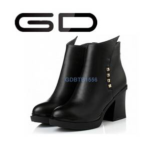 elegant chic pointed toe all-match rivets decoration booties shoes for ladies