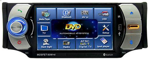 4.3-inch  car DVD player touch Screenwith AM/FM/RDS/TV/USB/Divx/Bluetooth/iPod control