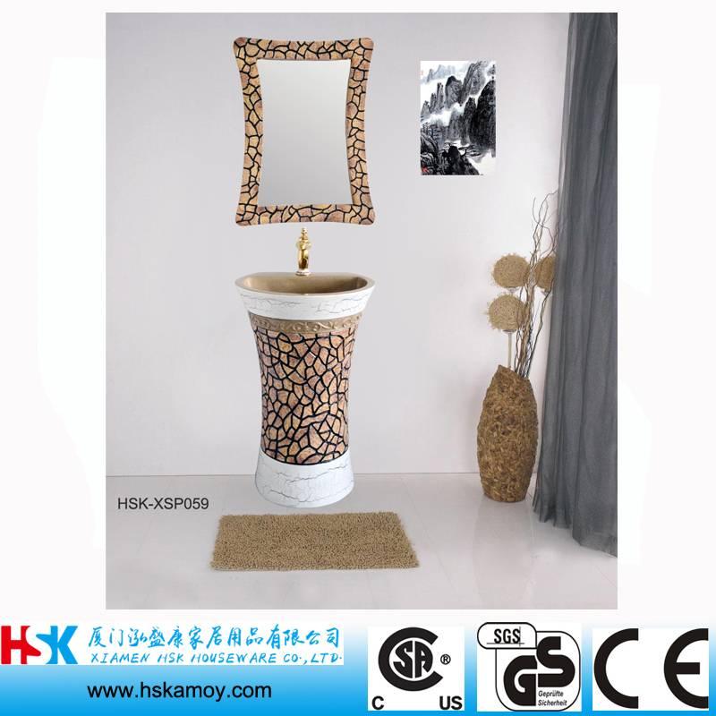 Sculpture Bathroom Vanity, Carving Bath Sink, Painting Bathroom Basin, Toilet Sink with Wall Mirror