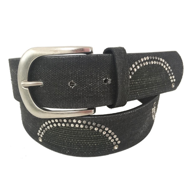 Black PU Leather Men's Studded Belt [JB17043-1-ST]