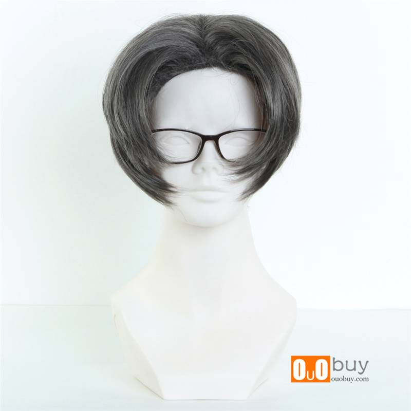 Ace Attorney Miles Edgeworth Dark Grey Carve short Cosplay Wig