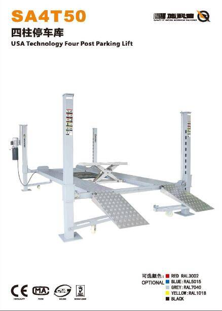 5 Ton USA Technology Hydralic Four Post Parking Lift with Ce ISO