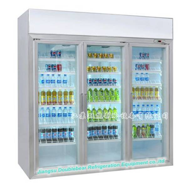 Three door upright display refrigerator with advertising lightbox