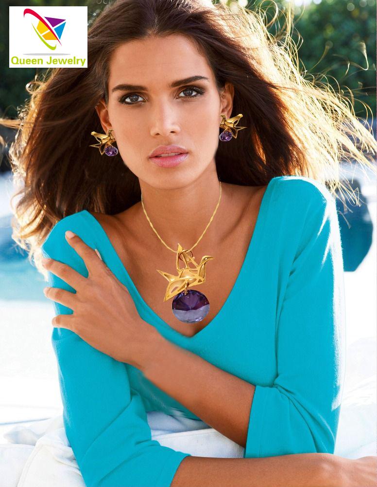 avian jewelry Custom name necklace Lovely bird noble purple zircon earring 18k Gold Plated Pendant