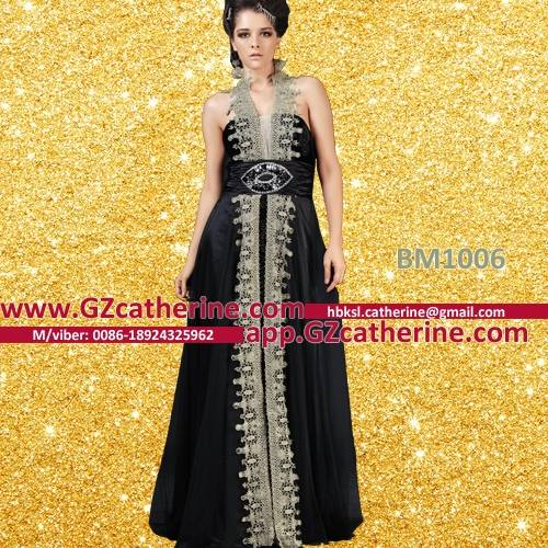 Black Chiffon Gold Embroidery Halter Backless Arab Evening Dresses
