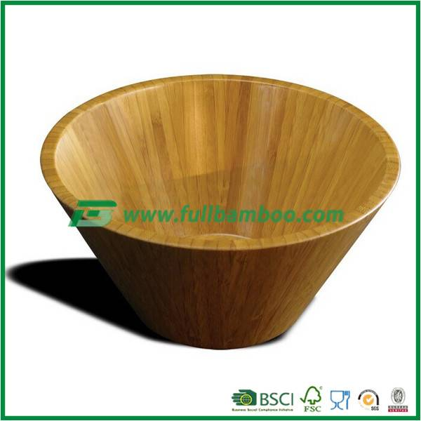 Durable Natural Bamboo Bowl Eco-Friendly Wood Soup Bowl Safe for Hot Food