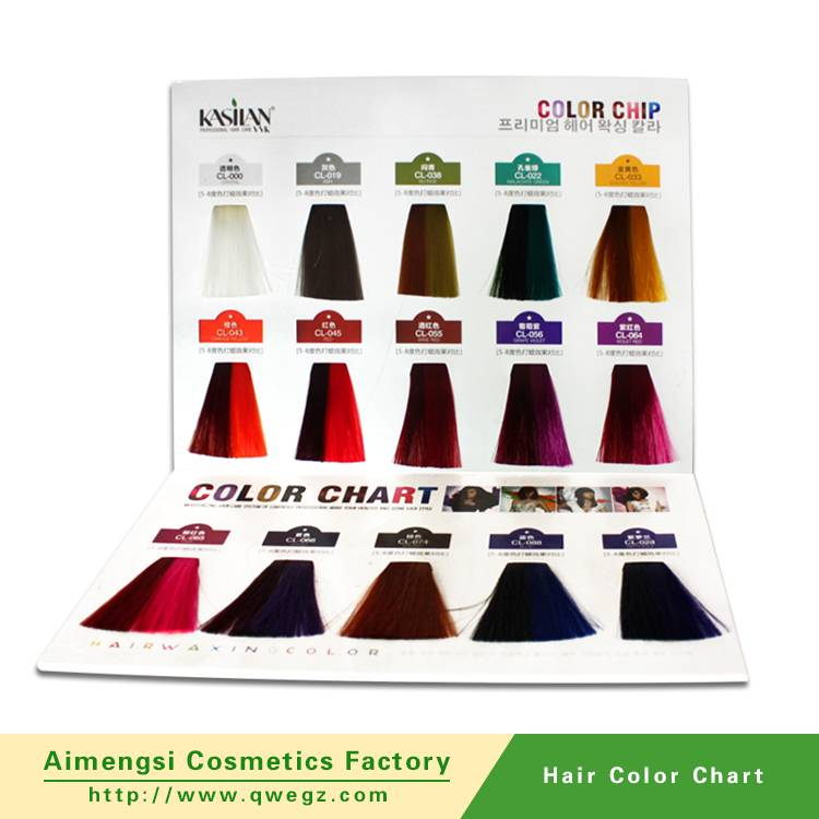 Professional hair color charts