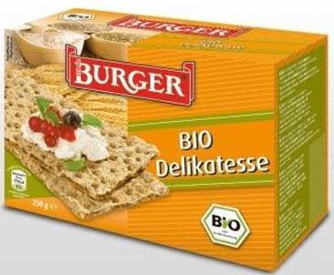Cereals - Burger Crispbread, BURGER Delicacy 250g., BURGER Classic 250g., BURGER Caraway 250g, BURGE