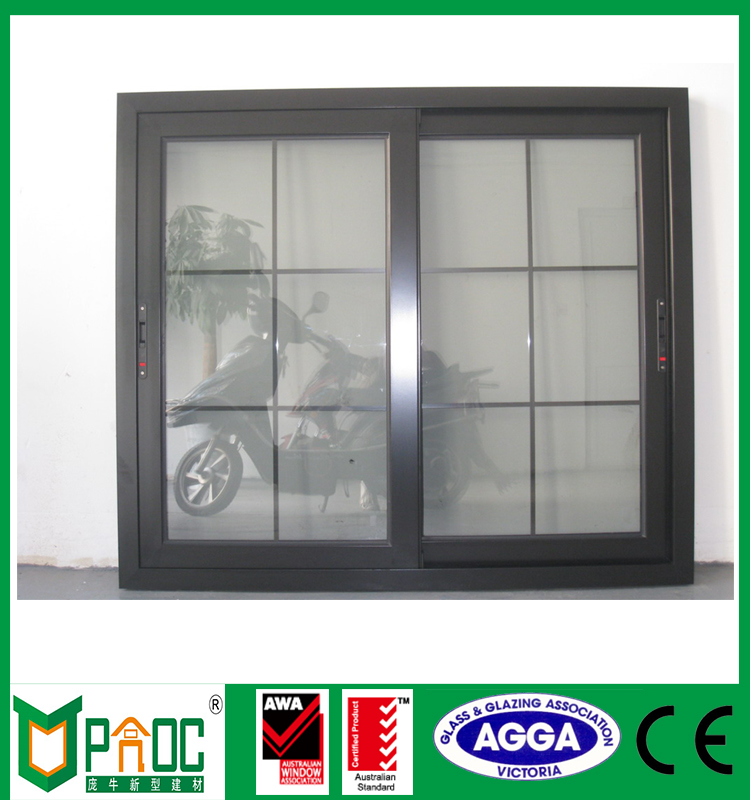 Double Tempered glass double pane aluminum sliding windows